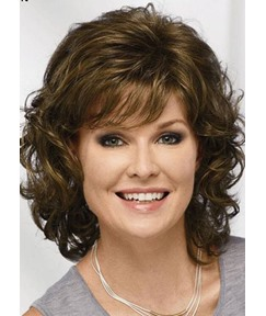 Brown Lace Front Wigs Short Natural Wavy Hair Clueless Synthetic Wigs for Women 16inch