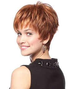 Brown Color Woman'S Short Length Straight Synthetic Hair Wig with Bangs Capless Wig 10inch