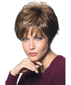 Brown Short Layer Natural Straight Hair Wigs with Bangs Synthetic Capless Wigs 12 INCH