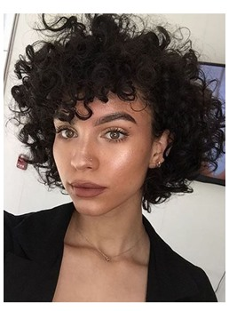 Short Kinky Curly Wig with Bangs Synthetic Hair Capless Wigs 14inch