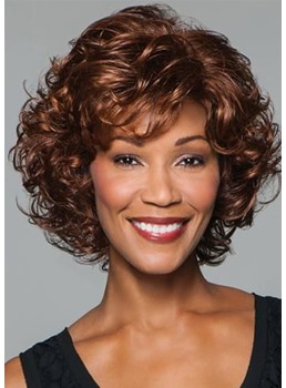 Women's Curly Mid-length Synthetic Hair Wigs Lace Front Wig 16inch