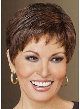 Short Fluffy Brown Hair Wigs with Bangs Heat Resistant Synthetic Hair Lace Front Wig 10inch