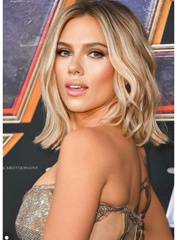 Scarlett Johansson Blonde Color Short Bob Style Synthetic Hair Straight Lace Front Wig 14inch