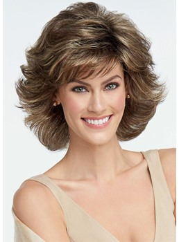 Natural Looking Short Wavy Synthetic Hair Wig Brown Color Capless Wigs 14INCH