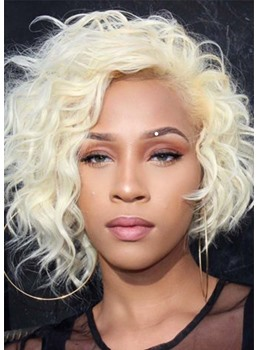 Women's 613 Blonde Color Short Curly Wavy Synthetic Hair Lace Front Wig 16inch