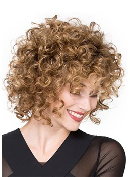 Short Light Brown Afro Curly Synthetic Hair Wig Kinky Curly Lace Front Wig 18inch