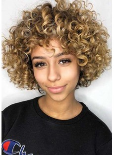 Afro Wig Synthetic Kinky Curly Wig for Women Short Curly Hair with Bangs Capless Wig 16inch