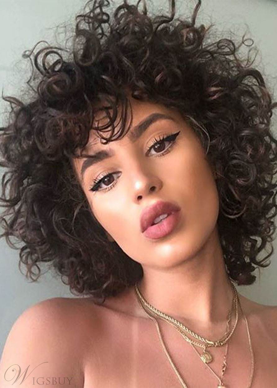 Short Curly Kinky Wigs Fluffy Wavy Black Synthetic Hair Wig Natural Looking Lace Front Wigs 16inch