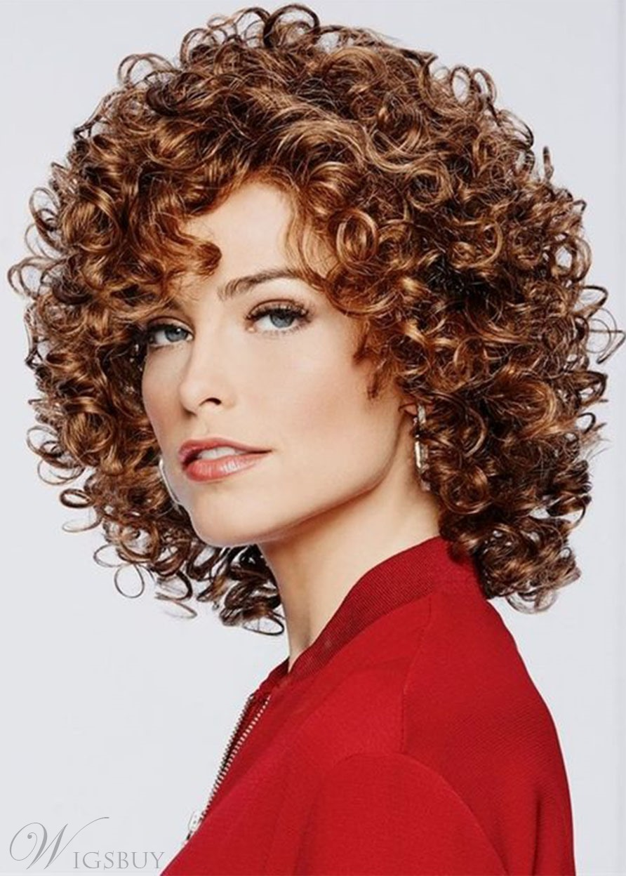 Brown Short Kinky Curly Afro Synthetic Hair Wig Lace Front Wig 18inch