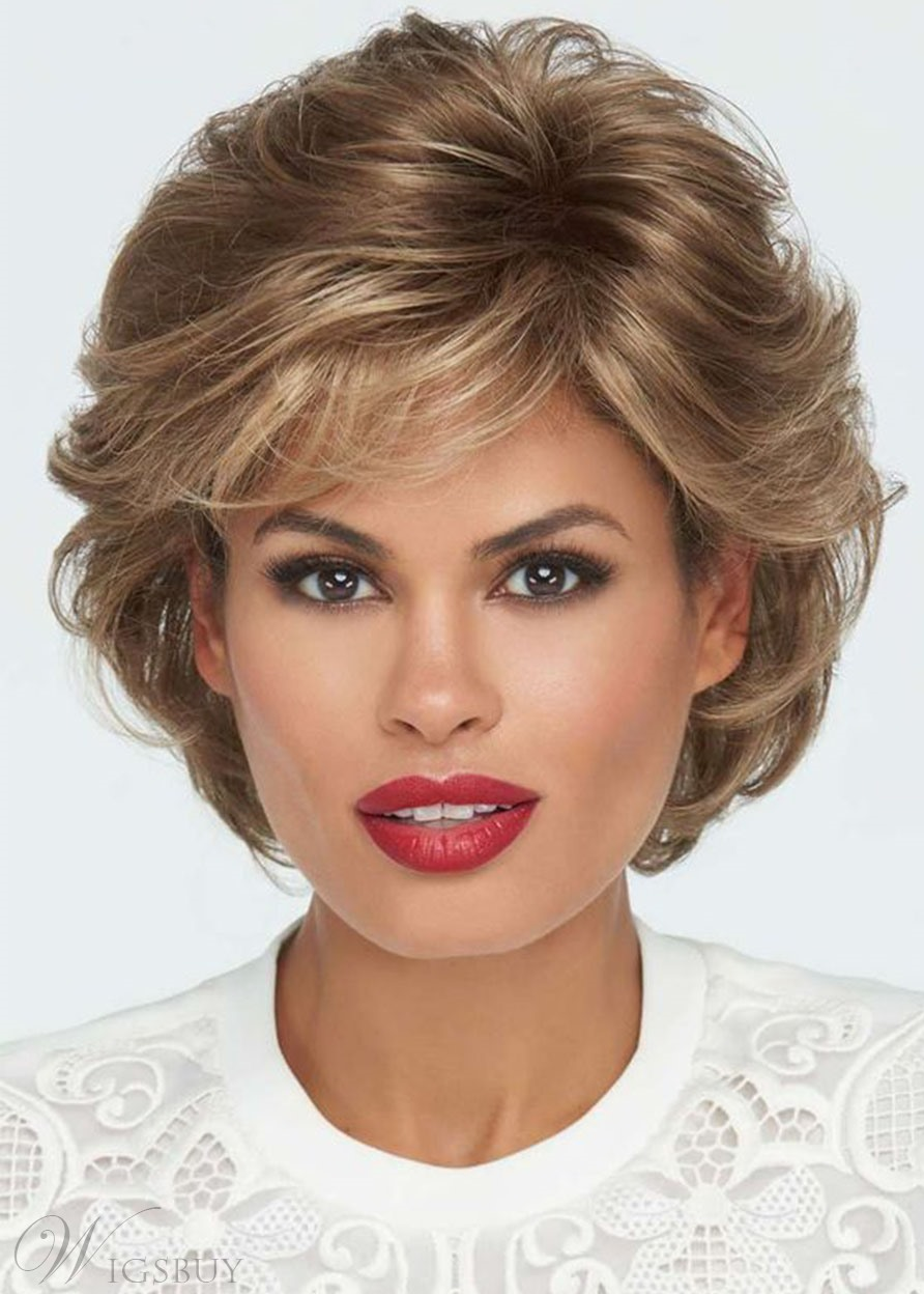 Short Wavy Women's Wig Brown Color Synthetic Hair Wigs Lace Front Wig 14Inch