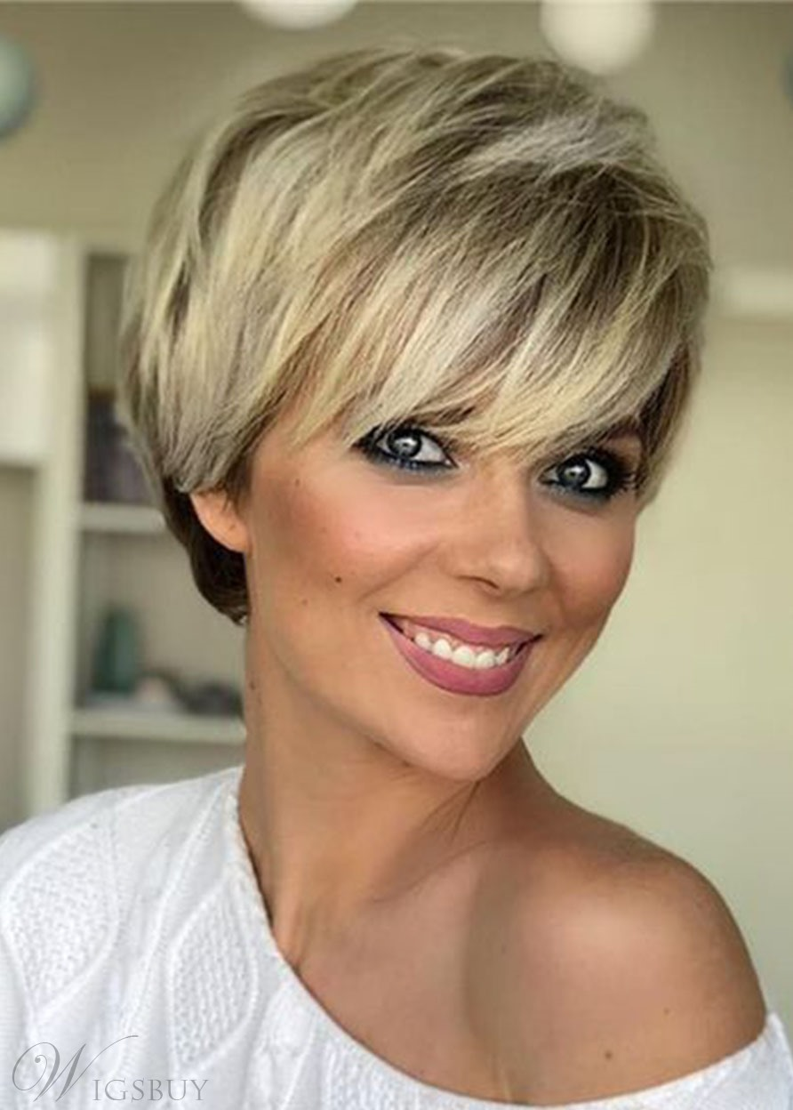 Short Blonde Wigs Straight Bob Hair Wigs with Bangs Natural Looking Synthetic Capless Wig 10inch