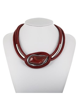Resin Leather Cord Necklace
