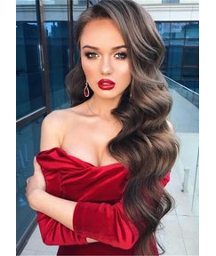 Side Part Long Wavy Human Hair Full Lace Women Wig 28 Inches