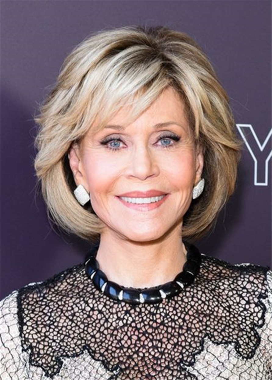 Jane Fonda Bob Type Human Hair Wavy With Bangs 12 Inches
