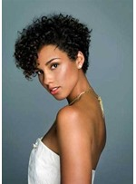 Women's Short Style Lace Front Cap Wigs With Bangs Kinky Curly Synthetic Hair Wigs 12inch