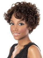 Fashionable Women's Short Length Brown Color Big Curl Capless Synthetic Hair Wigs 12inch