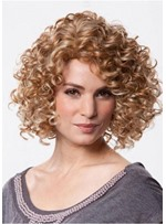 Sexy Women's Medium Hairstyles Synthetic Hair Afro Curly Lace Front Wigs 18inch