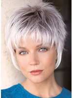 Women Short Pixie Cut White Synthetic Hair Wigs With Bangs Lace Front Wigs 12INCH