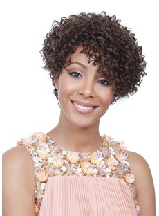 Sweet Women's Short Kinky Curly Synthetic Hair Lace Front Cap Wigs 14Inch