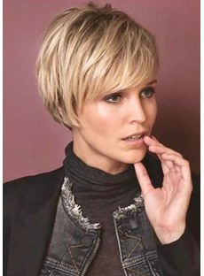 Women's Short Pixie Cut Hairstyle Straight Synthetic Hair Wigs Lace Front Cap Wigs 12inch