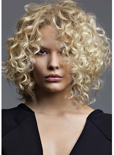 Middles Length Fluffy Afro Curly Synthetic Hair Wigs Lace Front Cap Wigs16inch