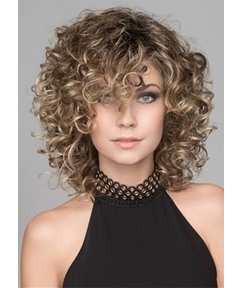 Sexy Middle Length Women's Curly Synthetic Hair Wigs Lace Front Wigs 18inch