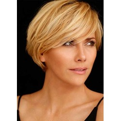 100% Human Hair Womens Pixie Cut High Density Straight Lace Front Cap Wigs 12 Inches