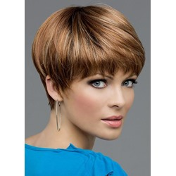 Brown Color Womens Short Pixie Cut 100% Human Hair Straight Lace Front Wigs 10Inches