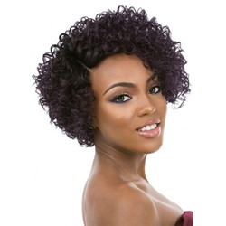 120% Density Womens Side Part Short Afro Curly Wigs Synthetic Hair Capless Wigs 14inch