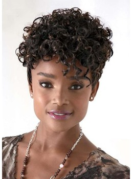 Women's Afro Natural Curly Short Synthetic Hair Wigs Curly Lace Front Wigs 12inch