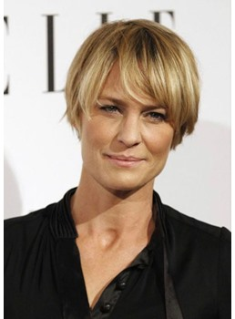 Women's Straight Synthetic Hair Wigs Lace Front Cap Wigs Robin Wright Hairstyle 12inch