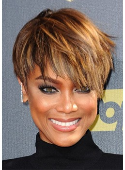 Women's Pixie Cut Straight Bob Style Synthetic Hair Lace Front Cap Wigs 10inch