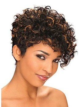 Mixed Color Women's Short Length Curly Synthetic Hair Lace Front Cap Wigs 12inch
