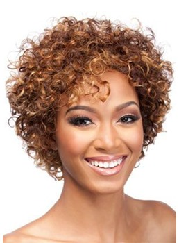 Fancy Funny Women's Short Length Light Brown Color Fluffy Afro Wigs Synthetic Hair Capless Wigs 14inch