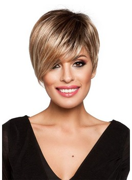 Pixie Cut Natural Looking Women's Synthetic Hair Wigs Lace Front Cap Wigs 12Inches