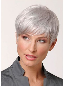 High Density Women's Pixie Cut Natural Lonking Synthetic Hair Lace Front Cap Wigs 10Inches