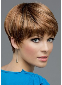 Brown Color Women's Short Pixie Cut 100% Human Hair Straight Lace Front Wigs 10Inches