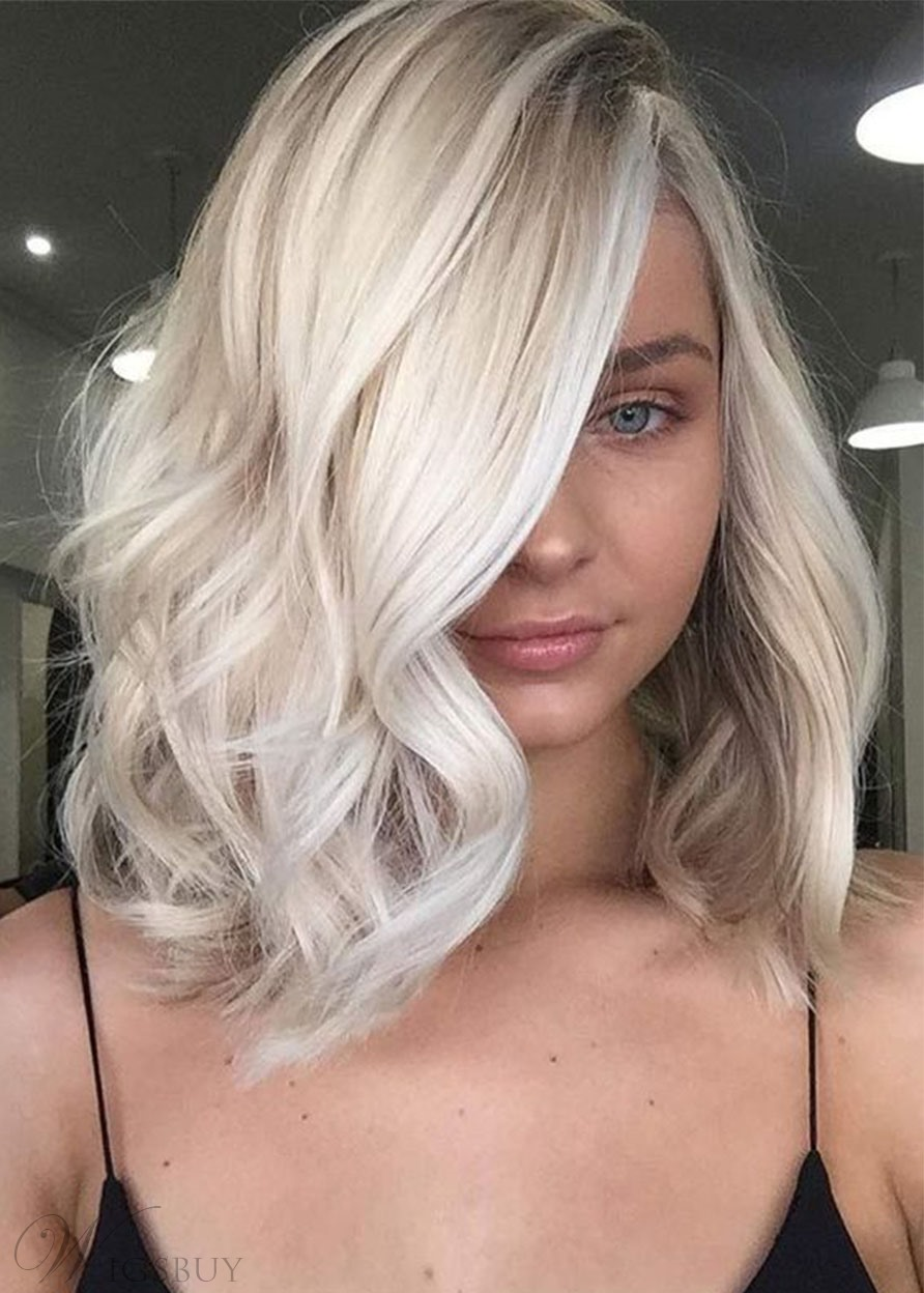 Women's Medium Side Part Hairstyles Blonde Color Human Hair Capless Wavy Wigs 20Inches