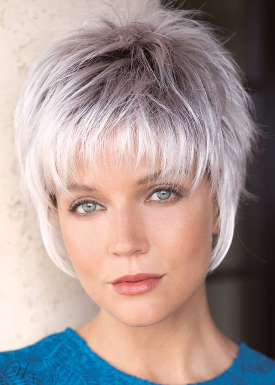 Women Short Pixie Cut Synthetic Hair Lace Front Wigs With Bangs 8INCH