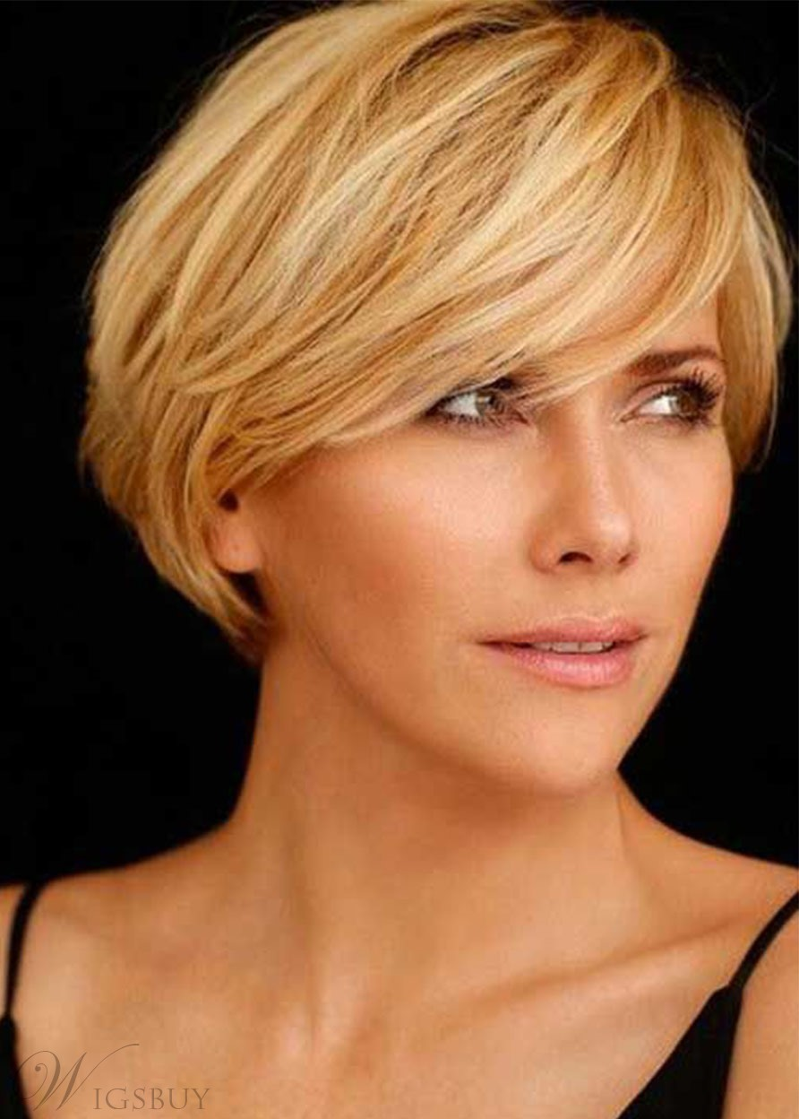 100% Human Hair Women's Pixie Cut High Density Straight Lace Front Cap Wigs 12 Inches