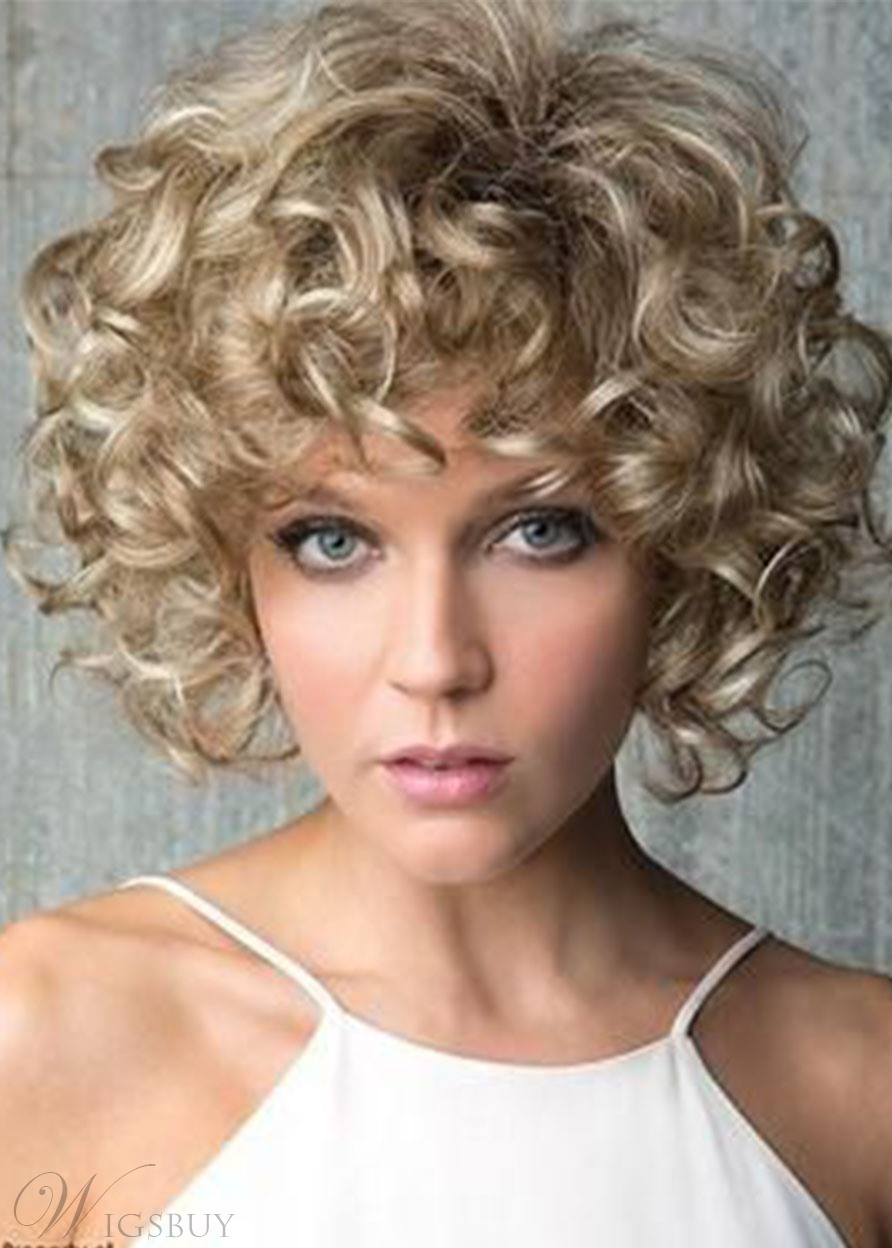 Women's Light Brown Color Curly Synthetic Hair Wigs Lace Front Cap Wigs 16inch