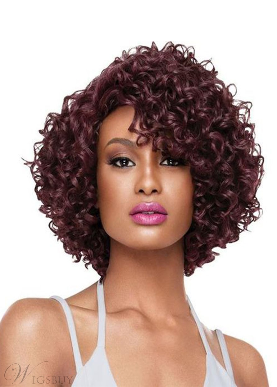 Women's Short Length Full Synthetic Hair Afro Kinky Curly Capless Wigs 16inch