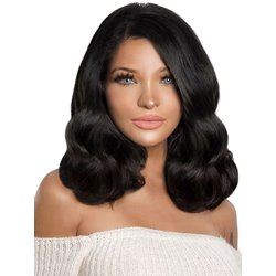 Long Bob One Side Part Wavy Synthetic Hair Lace Front Wig 16 Inches