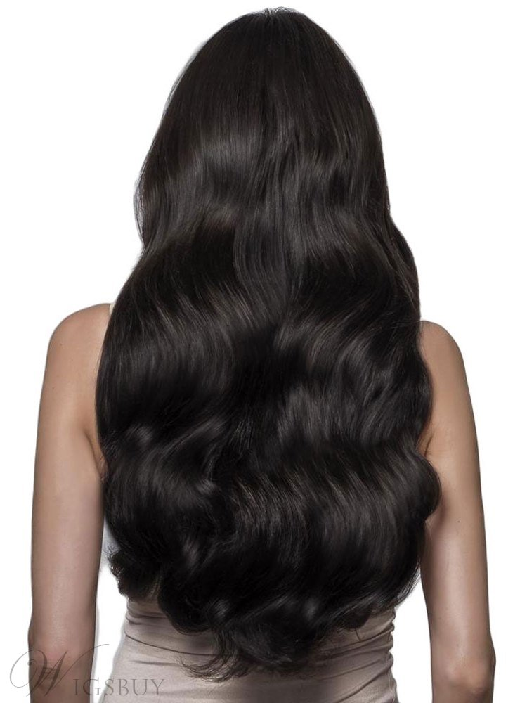Natural Hairline Long Body Wave Hair Synthetic Lace Front Wig 24 Inches
