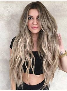 Brown Ombre Women's Long Wavy Synthetic Hair Lace Front Cap Wigs 26Inches