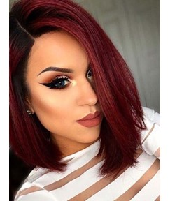 Medium Bob Hairstyles Women's Wine Red Straight Synthetic Hair Lace Front Wigs 14Inch