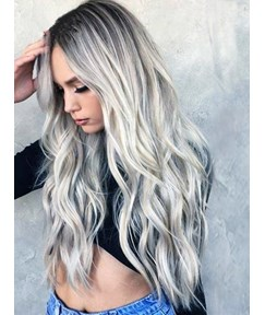 Natural Full Wigs Hair Long Wavy Wig Synthetic Heat Resistant Ombre Silver Lace Front Wigs 26Inches