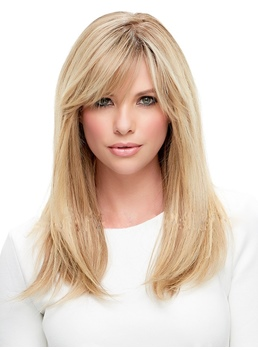 Side Part Long Straight Hair With Bangs Women Wigs 20 Inches