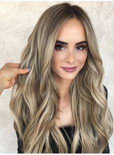 Fashion Brown Lace Front Wigs for Women Long Wavy Synthetic Wig Middle Parting Heat Resistant Glueless Wigs 22Inches