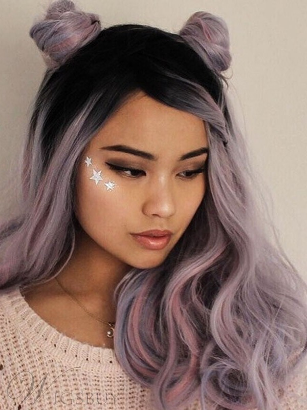Colored Wig Synthetic Hair Wavy Lace Front Wig 16 Inches